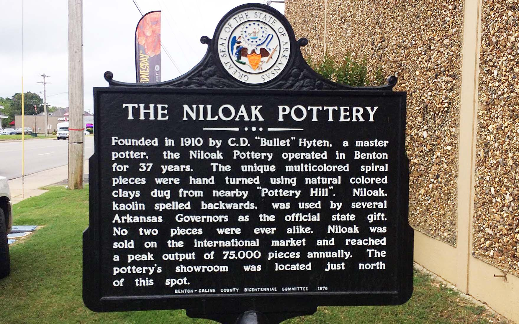 The Niloak Pottery Historical Marker was added in 1976, where the showroom once stood.